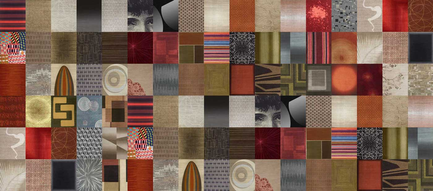 A mosaic of delinear rug designs